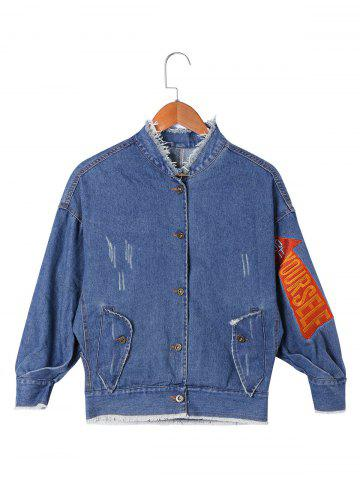 Outfit Appliqued Frayed Jean Jacket - L DENIM BLUE Mobile