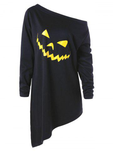 Online Halloween Plus Size Graphic Asymmetric Pullover Sweatshirt BLACK 3XL