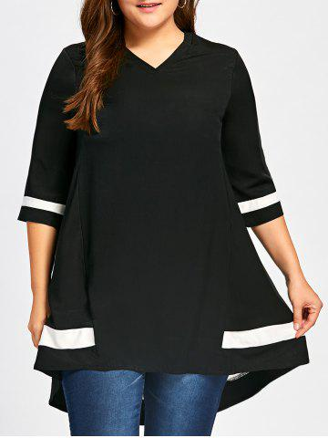 Outfits V-neck Two Tone Plus Size Tunic Top BLACK XL