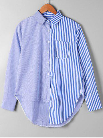 Shop Striped Patch Pocket Asymmetrical Shirt - S BLUE STRIPE Mobile