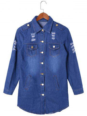 Trendy Flap Pockets Frayed Denim Shirt Coat BLUE 2XL