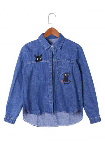 Fashion Kitty Embroidery High Low Hem Shirt Jacket - M BLUE Mobile