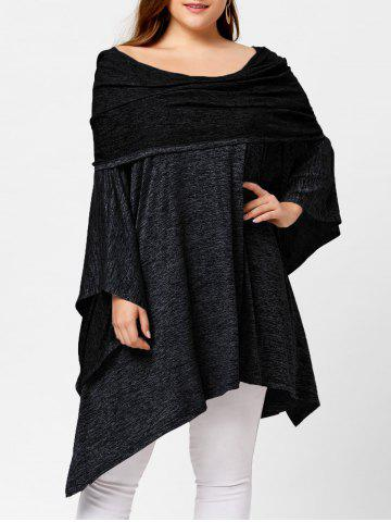Fancy Off Shoulder Plus Size Asymmetric Tunic Top