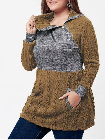 Trendy Plus Size Pullover Pockets Cable Knit Sweater