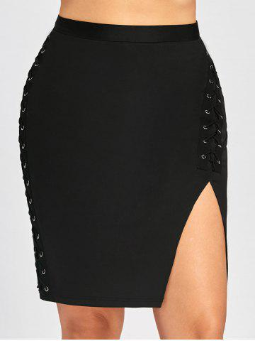 Jupe Bodycon Taille Haute à Lacets Grande Taille
