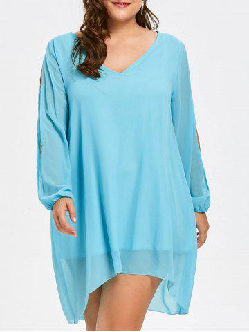 Sale Plus Size Flowy Chiffon Slit Sleeve Top