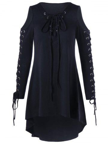 Chic Plus Size Cold Shoulder Lace Up Dress