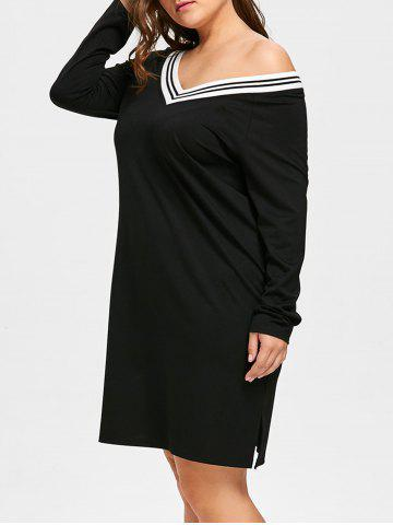 Trendy Long Sleeve Plus Size V-neck Dress