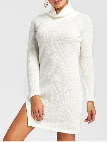 New Side Slit Turtleneck Mini Sweater Dress