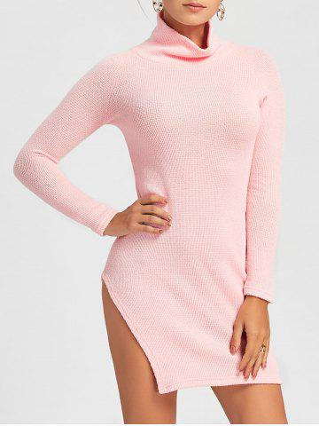 Affordable Side Slit Turtleneck Mini Sweater Dress