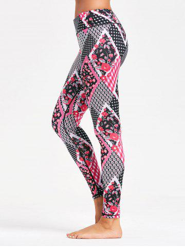 Trendy Tiny Floral Arygle Pattern Leggings for Yoga