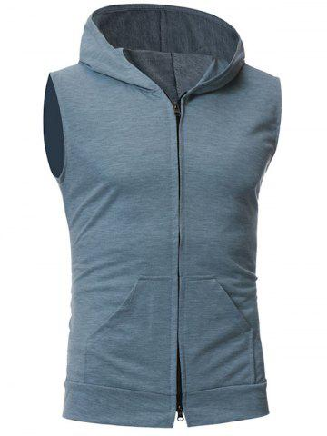 Discount Zip Up Kangaroo Pocket Hooded Vest