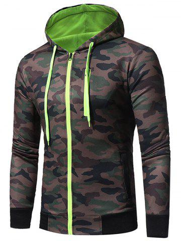 Trendy Color Block Fleece Camouflage Zip Up Hoodie