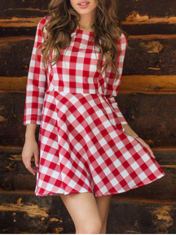 Sale Plaid Flare Mini Dress