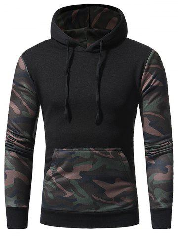 Camouflage Panel Fleece Pullover Hoodie