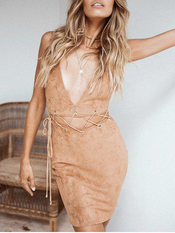 Faux Suede Plunge Lace-up Robe ajustée