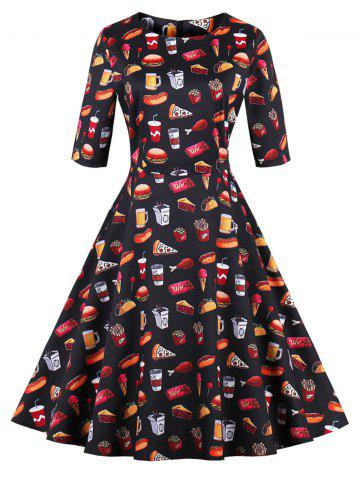 Discount Plus Size Vintage Hamburger Pizza Print Dress