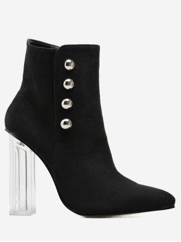 Latest Stud Chunky Heel Transparent Ankle Boots