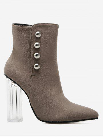Fancy Stud Chunky Heel Transparent Ankle Boots