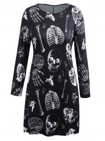 Robe T-shirt Halloween Squelette Manches Longues Grande Taille