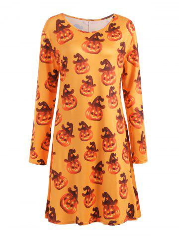 Plus Size Halloween Pumpkin Long Sleeve T-shirt Dress