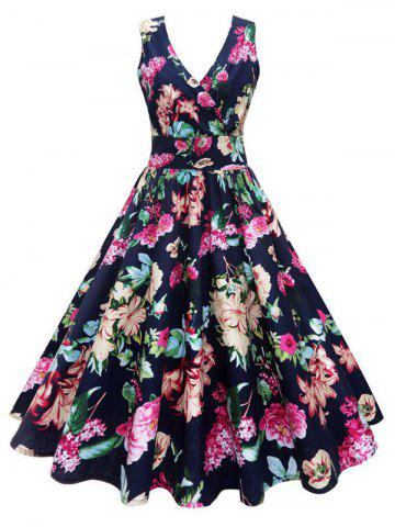 Plus Size Floral Print Vintage Gown Dress