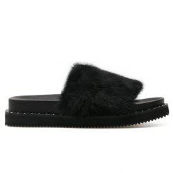 Platform Faux Fur Slide Sandals - BLACK 38