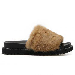 Platform Faux Fur Slide Sandals -
