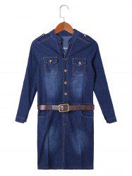 Flap Pocket Jean Formfitting Dress with Belt - DENIM BLUE S