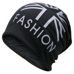 Letters Printed Knit Beanie Hat - BLACK