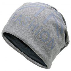Letters Printed Knit Beanie Hat - LIGHT GRAY