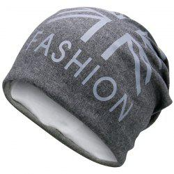 Letters Printed Knit Beanie Hat - DEEP GRAY