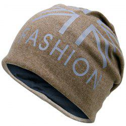 Letters Printed Knit Beanie Hat - LIGHT COFFEE