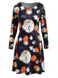 Long Sleeve Plus Size Halloween Party Dress - Black - 5xl
