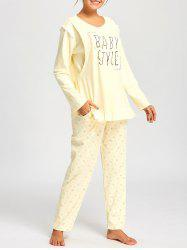 Nursing Floral PJ Set with Long Sleeves - LIGHT YELLOW L