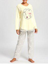 Nursing Cotton T-shirt with PJ Floral Pants - LIGHT YELLOW XL