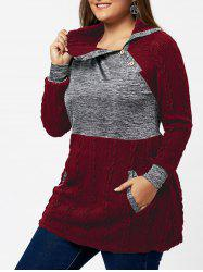 Plus Size Pullover Pockets Cable Knit Sweater - WINE RED 4XL