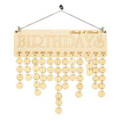 Family And Friends Birthdays Calendar DIY Wooden Reminder Board - Ivory Yellow