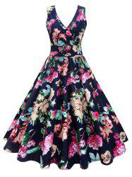 Plus Size Floral Print Vintage Gown Dress - Floral - 5xl