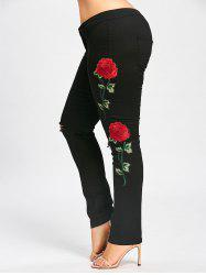 Destroyed Floral Patched Plus Size Tight Jeans - BLACK XL
