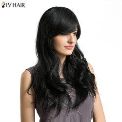 Siv Hair Long Inclined Bang Layered Wavy Human Hair Wig -