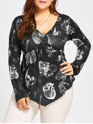 Plus Size Draped Halloween Skeleton Printed T-shirt -