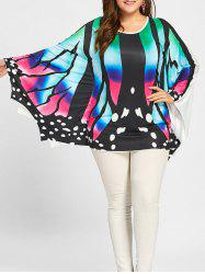 Plus Size Asymmetrical Batwing Butterfly Poncho Tee - Colorful - 2xl