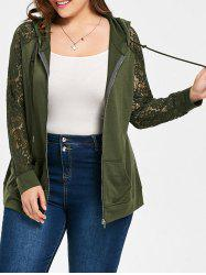 Plus Size Raglan Sleeve Hooded Floral Lace Jacket - ARMY GREEN XL