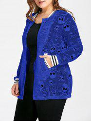 Plus Size Openwork Halloween Skull Jacket - BLUE XL
