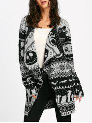 Halloween Skull Knit Tunic Cardigan - WHITE AND BLACK L