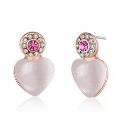 Faux Opal Rhinestone Heart Stud Earrings -