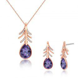 Faux Crystal Teardrop Necklace with Earring Set - ROSE GOLD