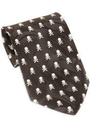 Skull Pattern Halloween Themed Necktie - Black