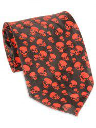 Halloween Full Small Skull Printed Faux Silk Necktie -